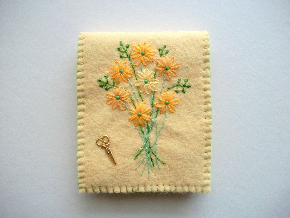 Needle book pastel yellow felt keeper with hand