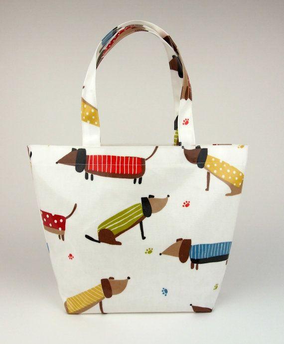 632837732f38 Tote bag Oilcloth bag Lunch bag Dachshund bag by CharleyLouDesigns Oilcloth  Bag, Dachshund Gifts,