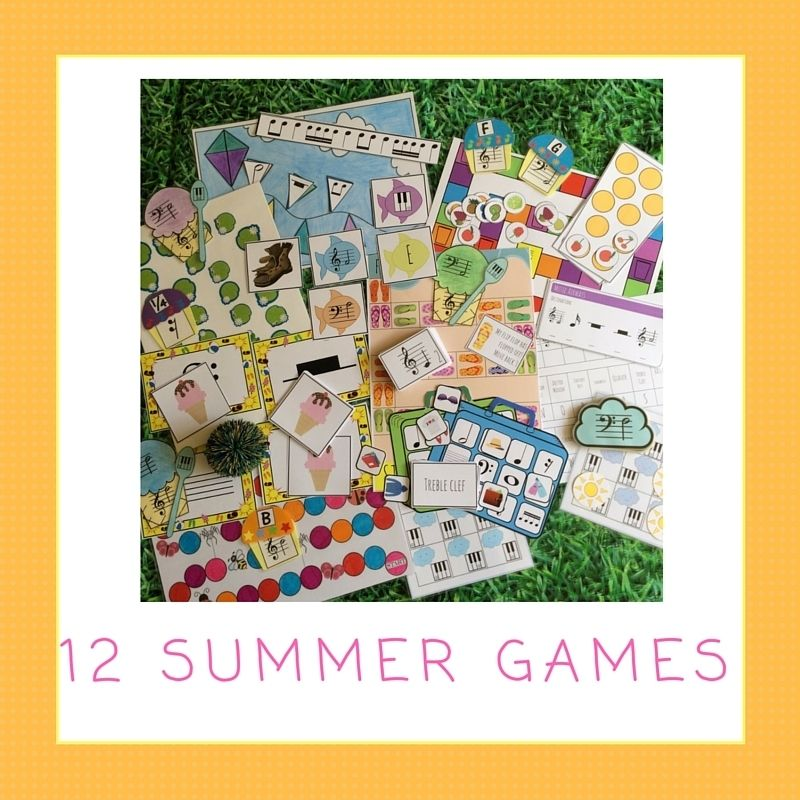 Lots of summery music games for piano lessons