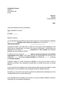 Lettre De Resiliation De Contrat D Assurance Habitation Augmentation De La Prime D Assurance Mod Lettre De Resiliation Modeles De Lettres Exemple De Lettre