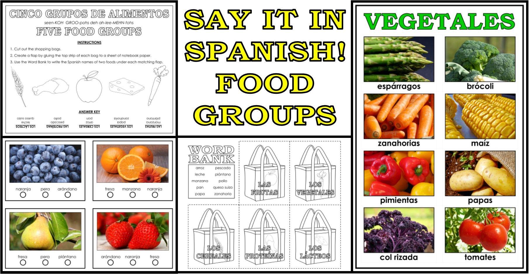 SPANISH Los Grupos de Alimentos (Food Groups) Resource