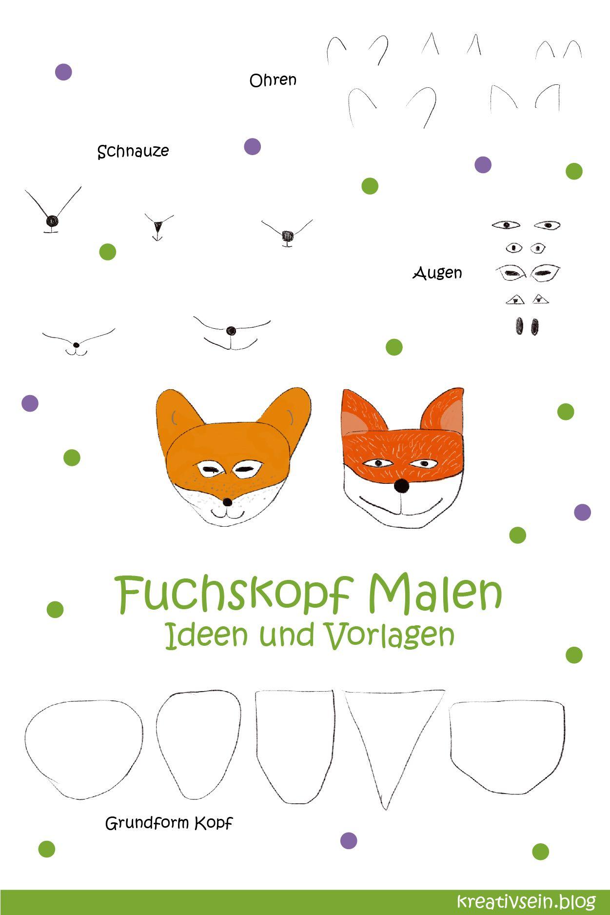 Fuchs Malen Mit Vorlage Geht Es Ganz Einfach Kreativsein Blog Fuchs Fuchs Zeichnen Malen