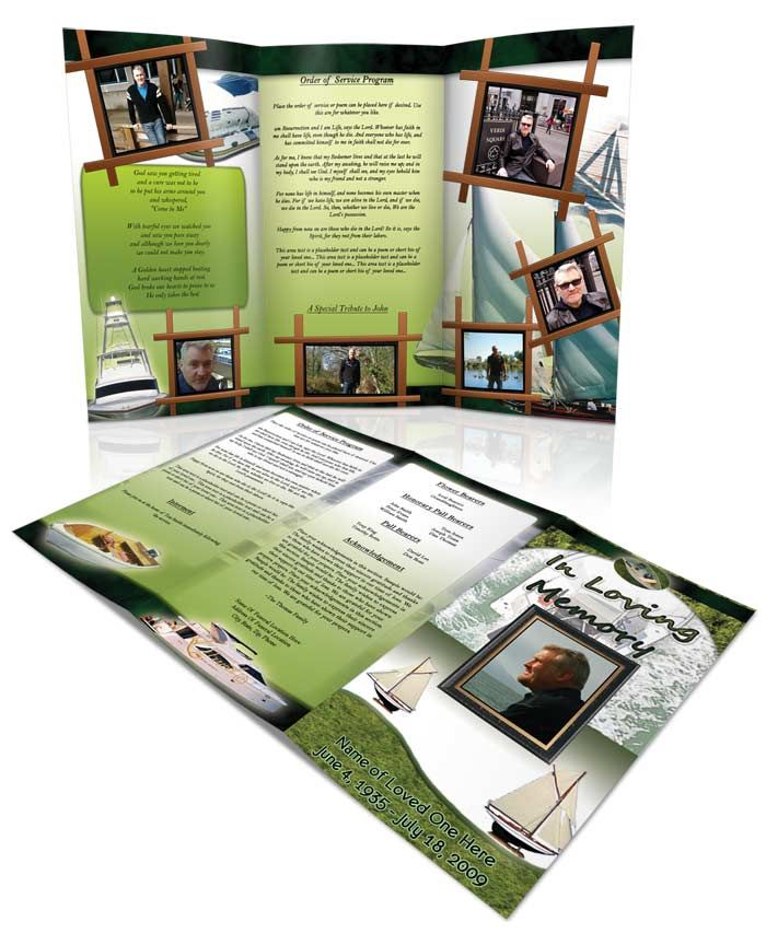 Obituary Template Boating  Tri Fold Brochure For More Funeral