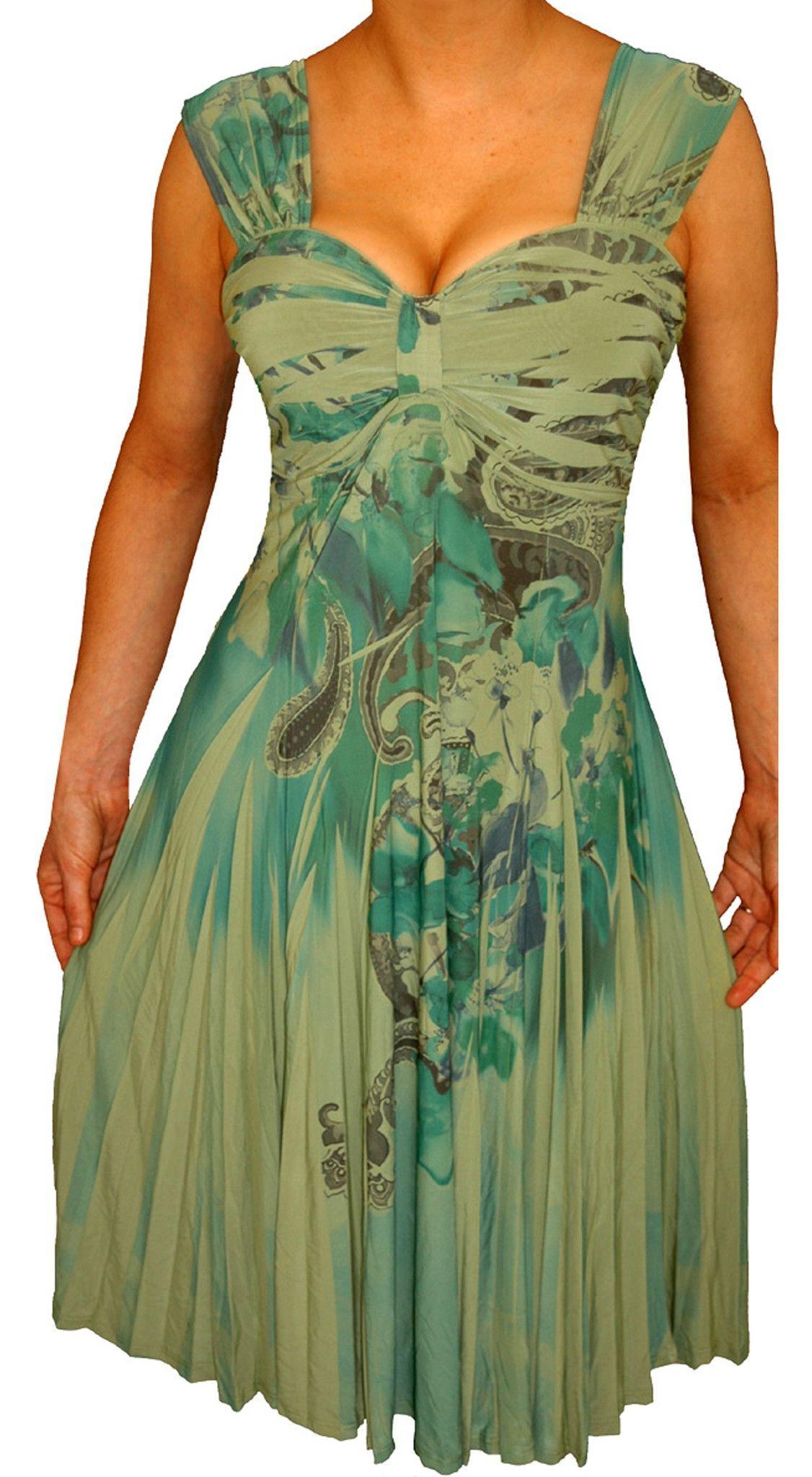 Funfash plus size sage green paisley empire waist womens