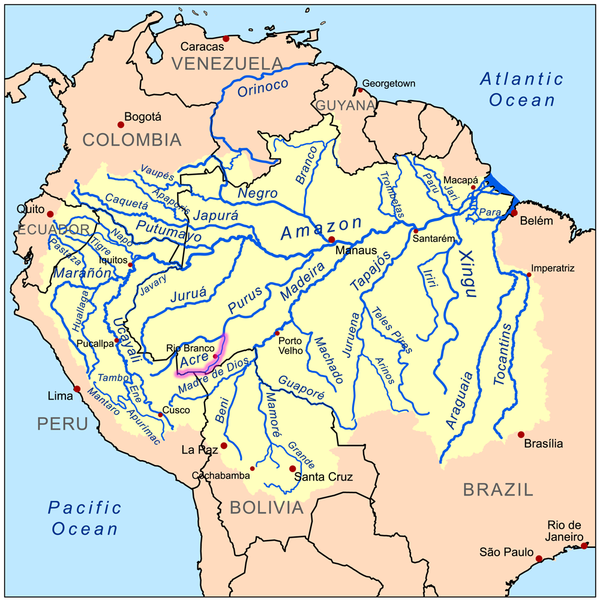 The Amazon river basin. Over two-thirds of all the fresh water on ...