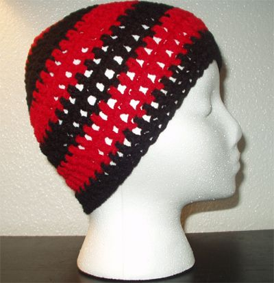 Red and black striped regular beanie. Want one? Only 5 bucks!