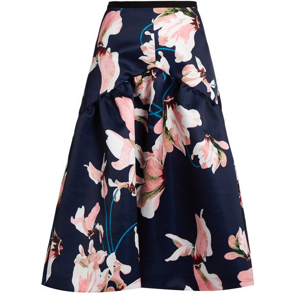Erdem Malia Kayo Lily print duchess-satin skirt ($1,005) ❤ liked on Polyvore featuring skirts, flower print skirt, erdem skirt, embellished skirt, floral print skirt and erdem
