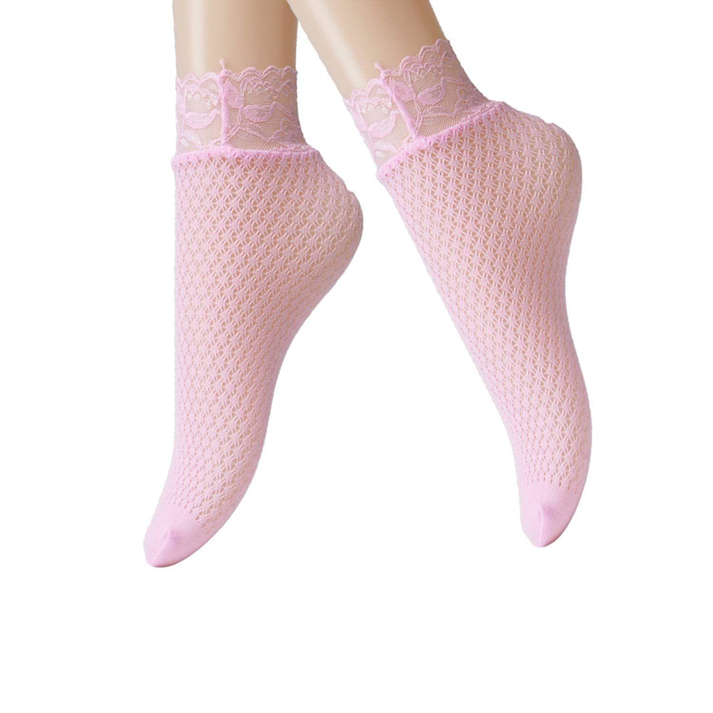 74a013a47 Jormatt 6 Pairs Women Lace Fishnet Socks Nylon Sheer Ankle Dress Socks Low  Cut Pink Beige Thin Novelty Cute Comfort Cuff Socks For FlatsSize 48      Details ...
