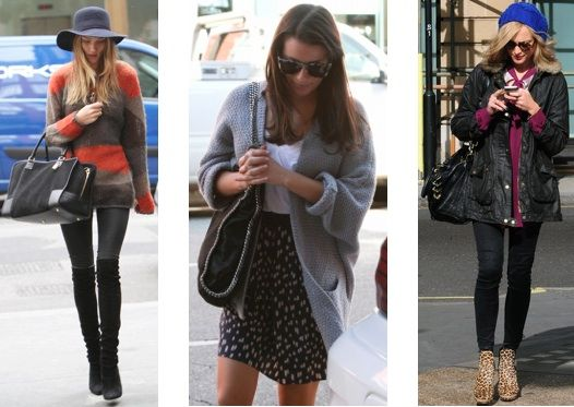 Celebrity street style: Rosie Huntington-Whitely, Lea Michele, and Fearne Cotton