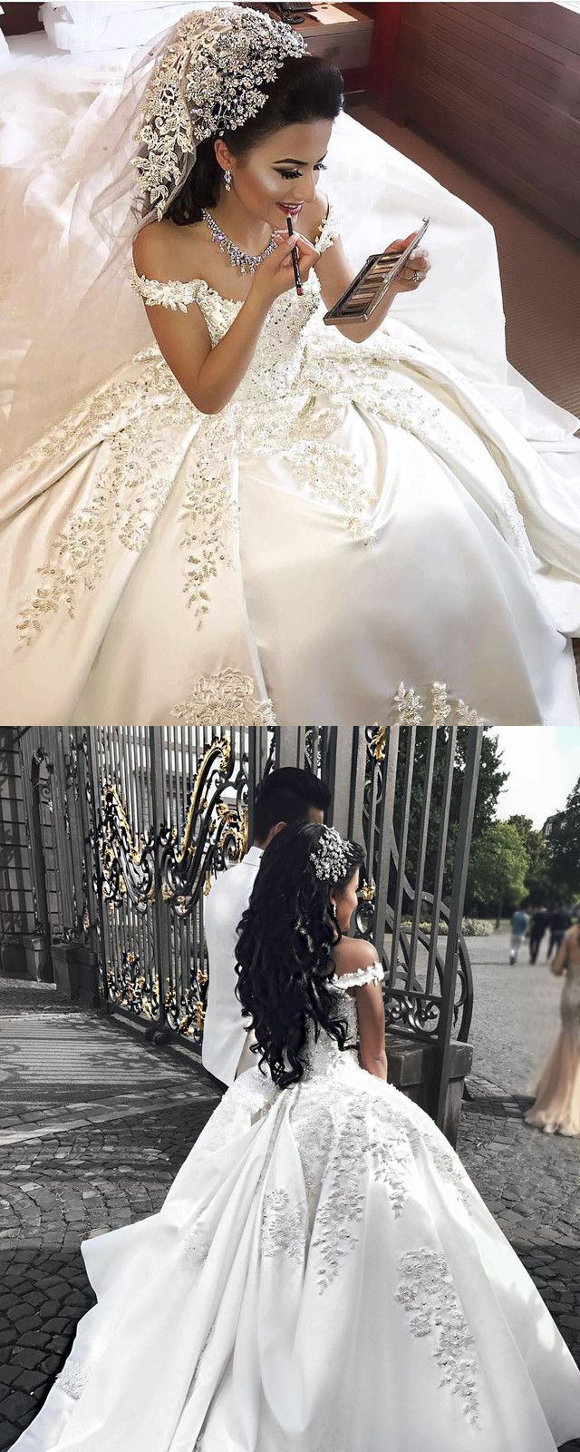 Beaded ball gown wedding dress  Beaded Lace Embroidery Vneck Satin Ball Gowns Wedding Dresses For