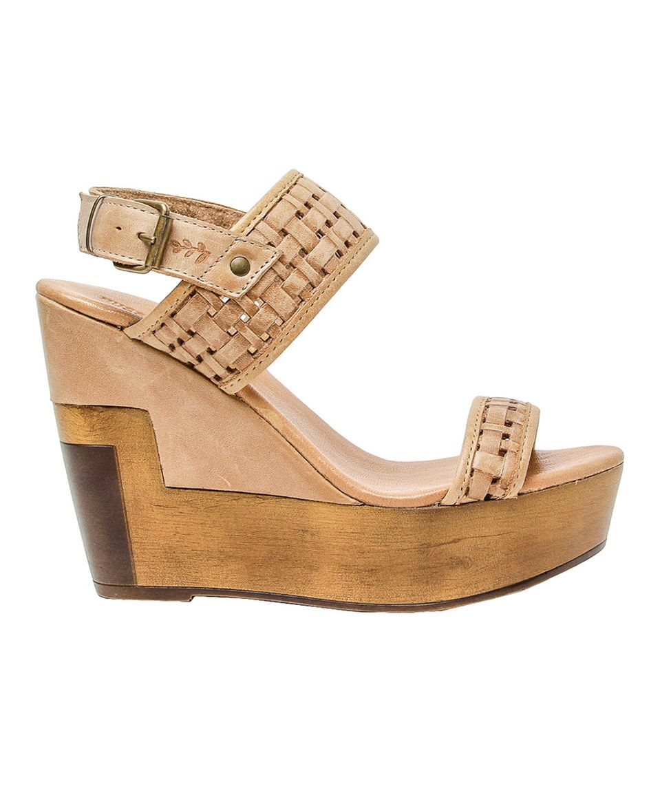 Musse & Cloud Poslow Laser Perforated Leather Platform Wedge Sandals Pld31
