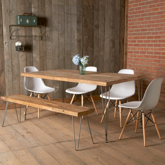Modern dining table with reclaimed wood top and Hairpin legs. 60