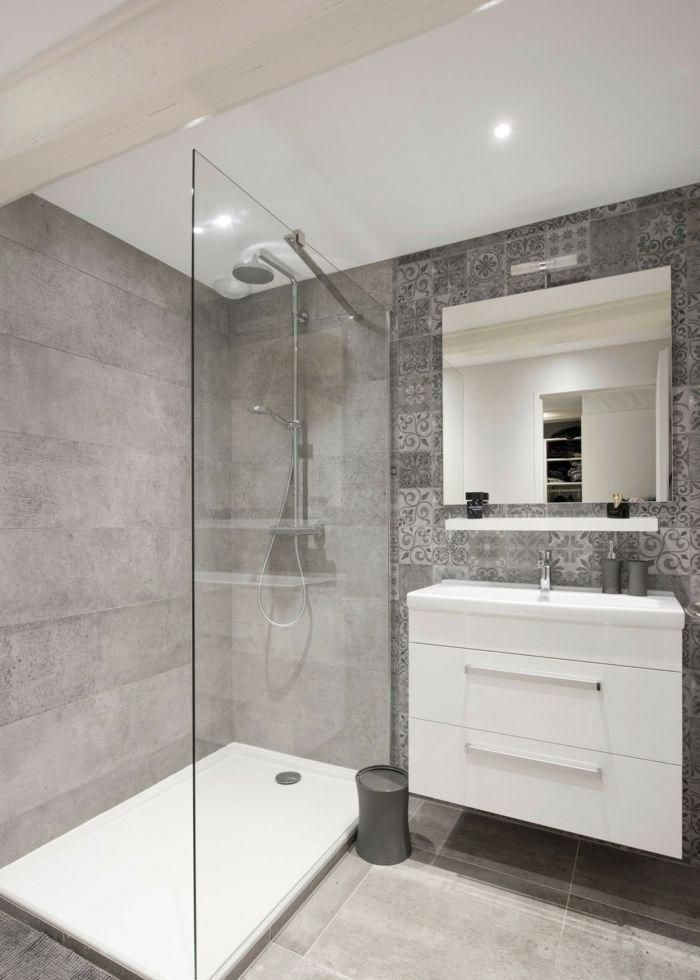 Ba o blanco gris dise o ba os peque os modernos azulejos for Banos modernos con guardas de vidrio