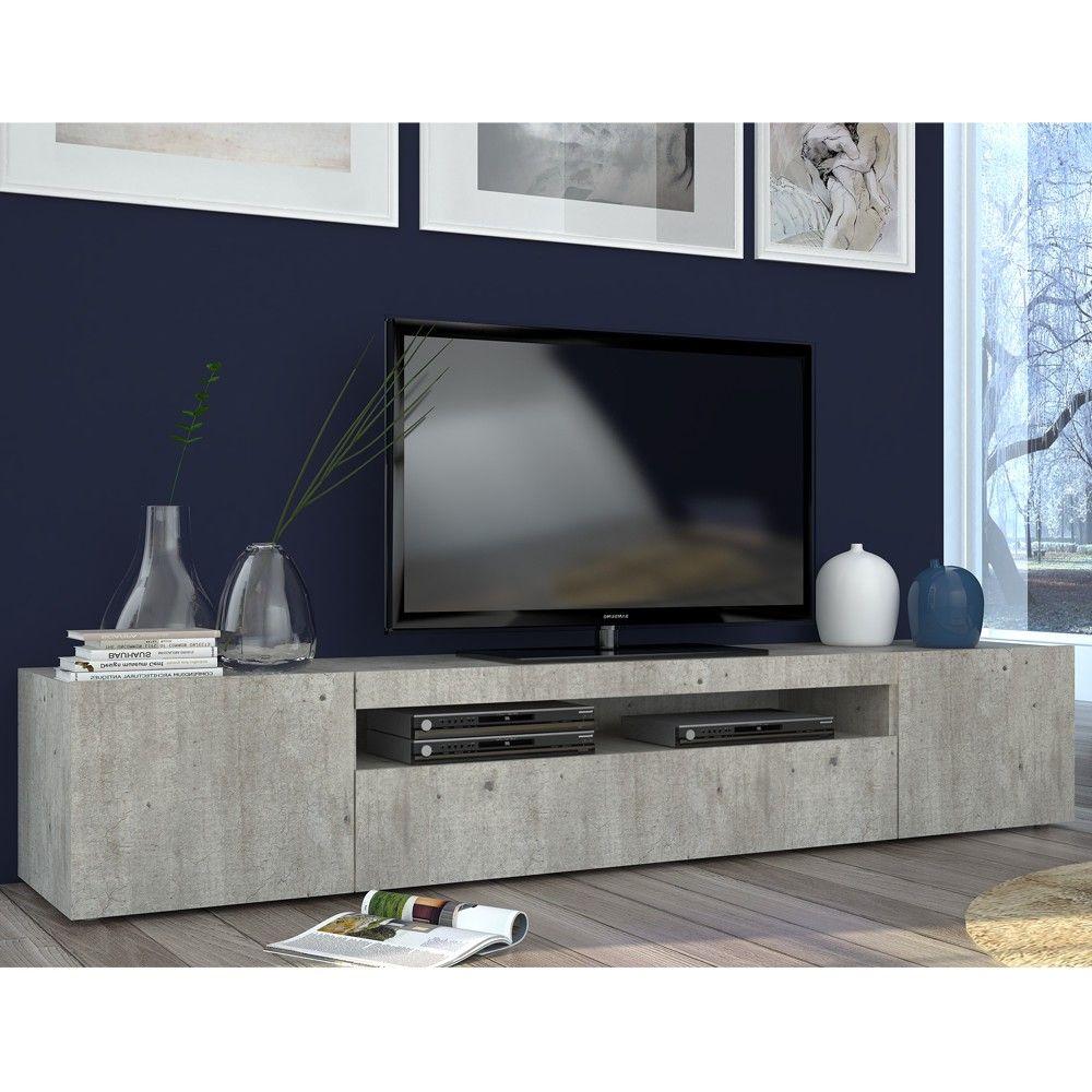 Porta Tv Flat.Mobile Porta Tv Apollo Ii In Effetto Cemento Tv Furniture
