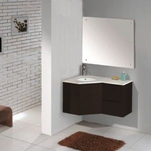 Modern Black Contemporary Corner Bathroom Vanity With Sink