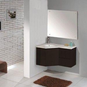 Modern Black Contemporary Corner Bathroom Vanity With Sink