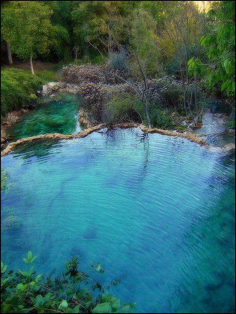 The blue pools of Orbaneja Del Castillo, Spain (by lizargi).