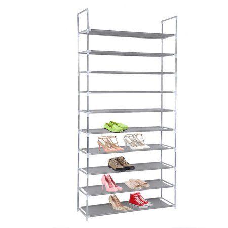 10 Tier 50 Pairs Shoe Organizer Storage Bench Rack Shoe Storage Cabinet Lightweight Shoes Rack Gray Shoe Rack Shoe Storage Cabinet Storage