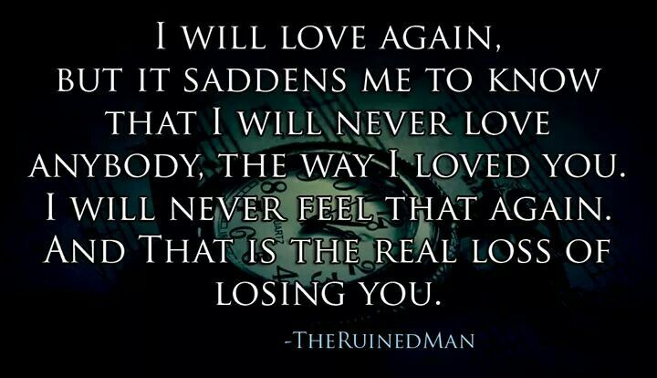 I Will Love Again But It Saddens Me To Know That I Will Never Love