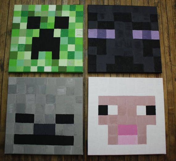 Minecraft Set Of 4 Canvas Art 80 For 4 25 Individually Painting Minecraft Diy Canvas Art Easy Diy Canvas Art