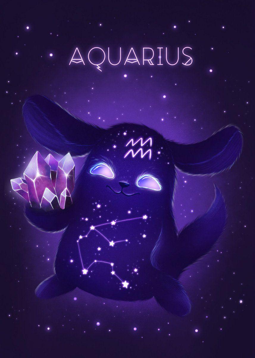 Aquarius Zodiac Monster Metal Poster Zuzana Ziakova Displate Zodiac Signs Aquarius Aquarius Art Zodiac Art