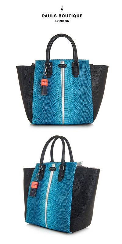 Melissa Tote Bag Teal Ombre Snake.The Birkenhead Collection Melissa Tote Bag in Teal Ombre Snake Oversized tailored structured tote in teal Ombre snake with twin handles Black detailing to side panels and handles Silver metallic insert running down centre Zip pocket on reverse Zip across closure Neon coral lightning bolt print interior lining Inside zip pocket and small pocket compartments. #Structured #Ombre#Tote #Bag #BirkinHead #Paul'sBoutique #Fashion #Myobsession #Style