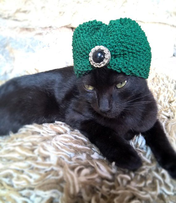 83be4ab1 Turban Hat for Cat, Crochet Kitty Crown, Pet Wedding Headpiece, Cat Outfit,  Feline Accessory, Crochet Turban for Pets, Turban Hat for Cat