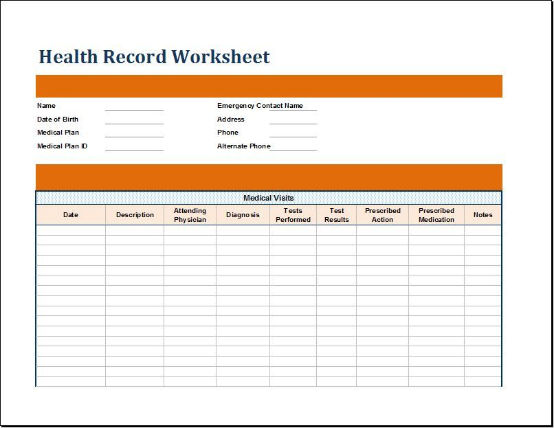 Medical Health Record Worksheet for EXCEL DOWNLOAD at http\/\/www - medical report template