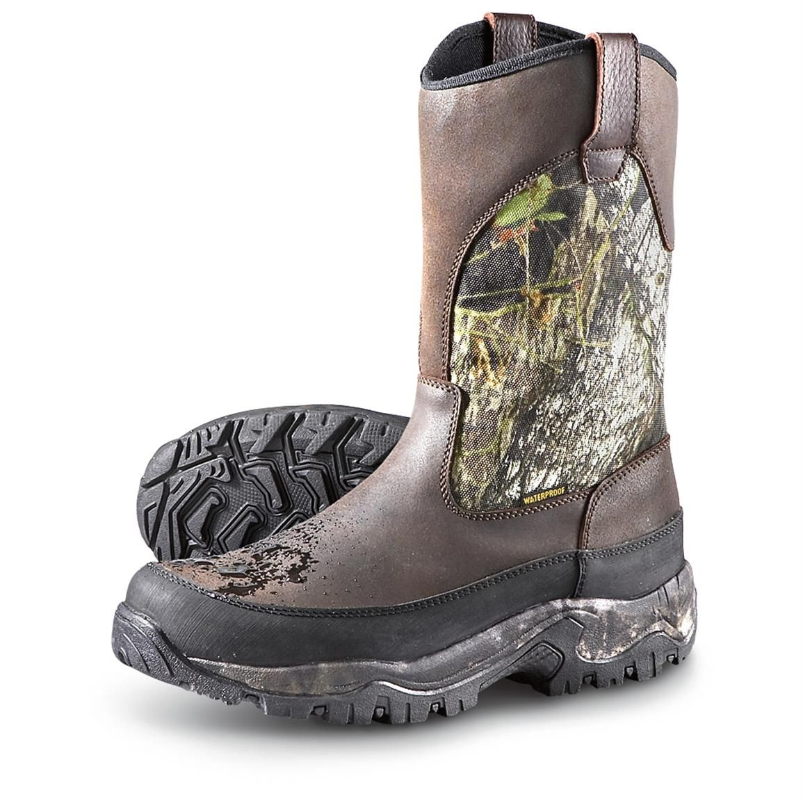 Guide Gear Men's Hunting Pull-On Boots, 1,000 Gram Thinsulate, Waterproof -  180121, Hunting Boots at Sportsman's Guide   Hunting boots, Boots, Pull on  boots