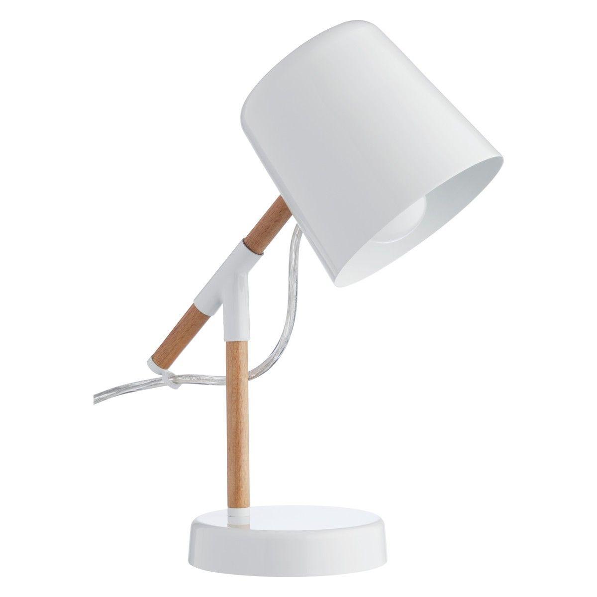 Wooden desk lamp - Peeta White Metal And Wood Desk Lamp