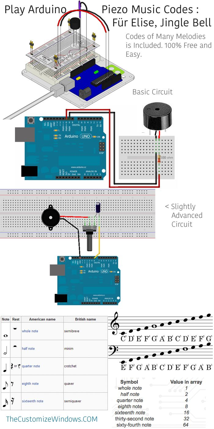 Play arduino piezo music codes für elise jingle bells