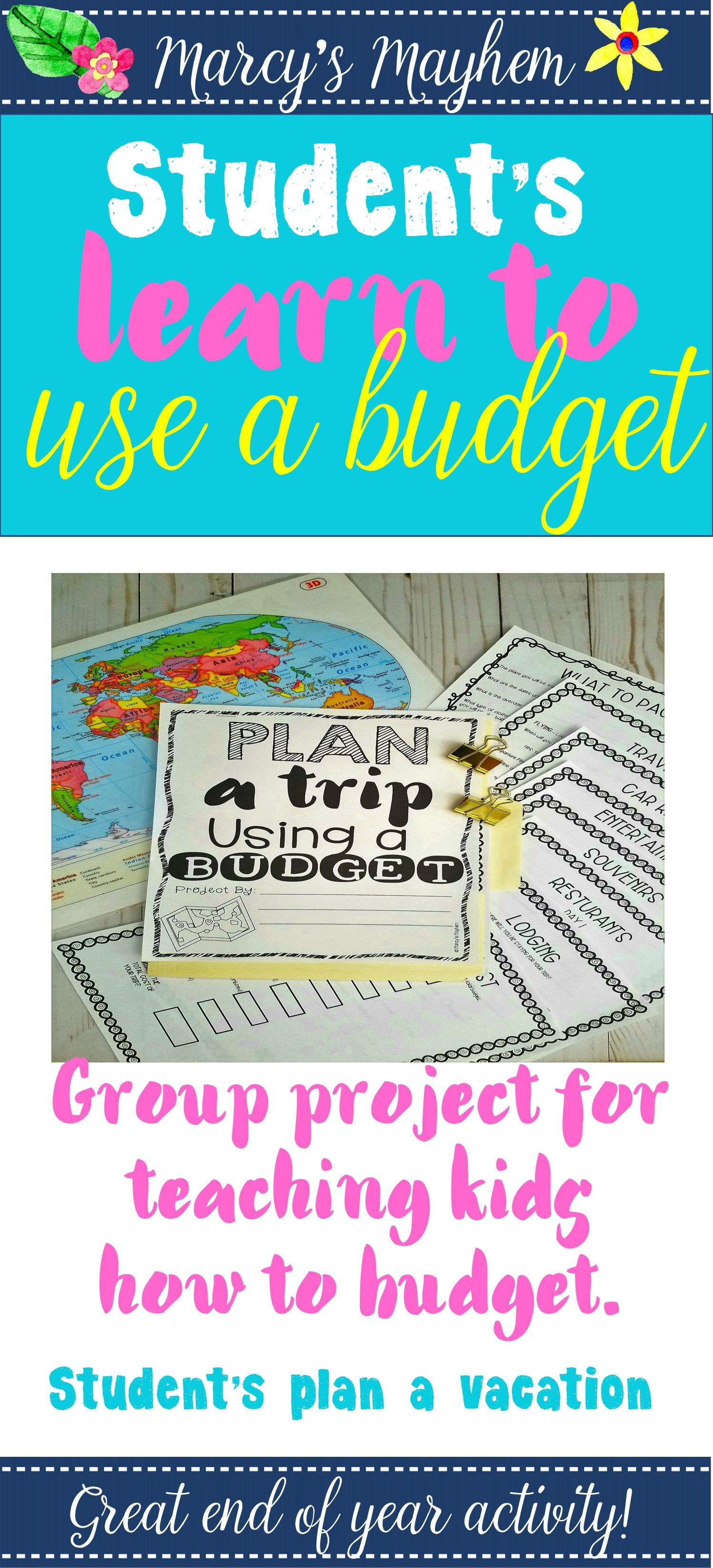 Math Project Based Learning Budgeting Activity 4th 5th