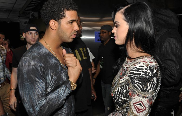 Drake and Katy Perry photographed backstage at the 2012 MTV Video Music Awards in Los Angeles. | MTV Photo Gallery