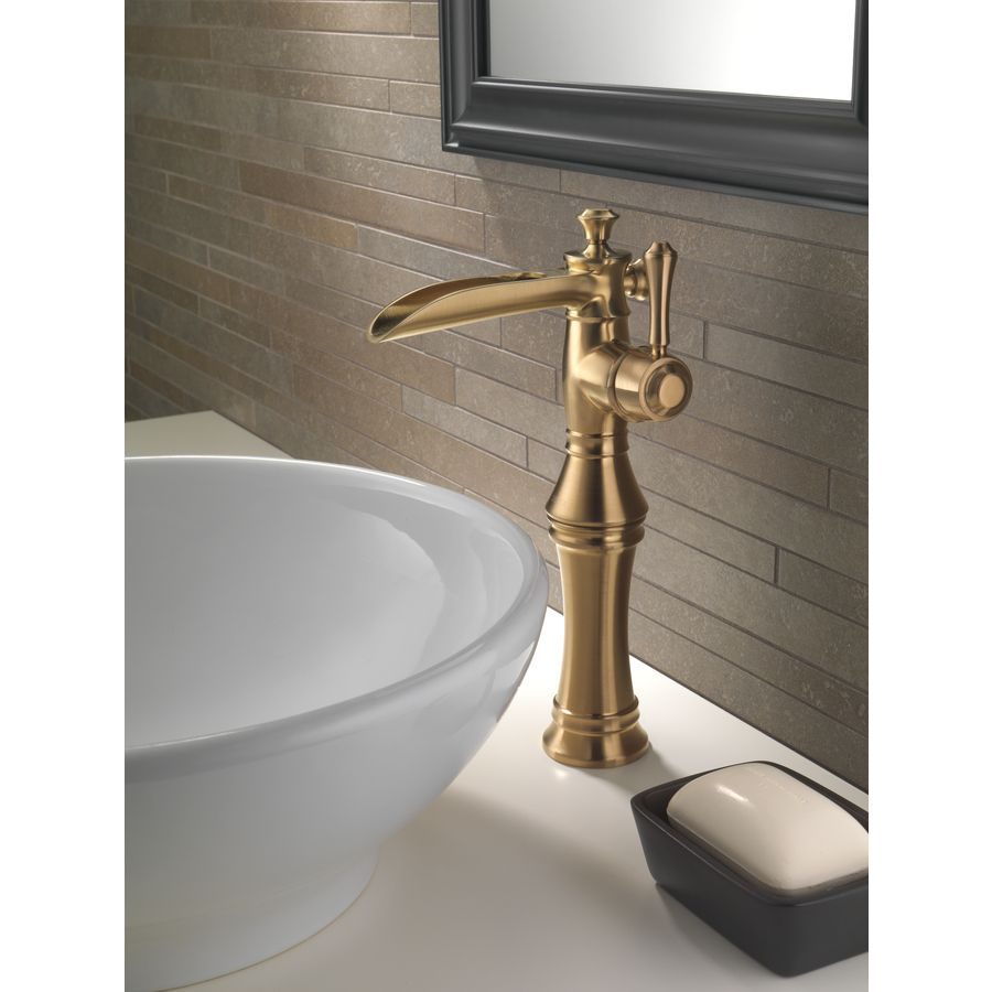 Shop Delta Cassidy Champagne Bronze 1 Handle Single Hole WaterSense  Bathroom Faucet At Lowes.