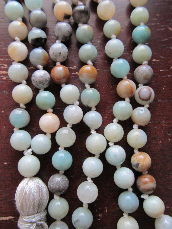 Amazonite Mala Beads 108 Bead Mala Mala by GrdnEarthlyDelights
