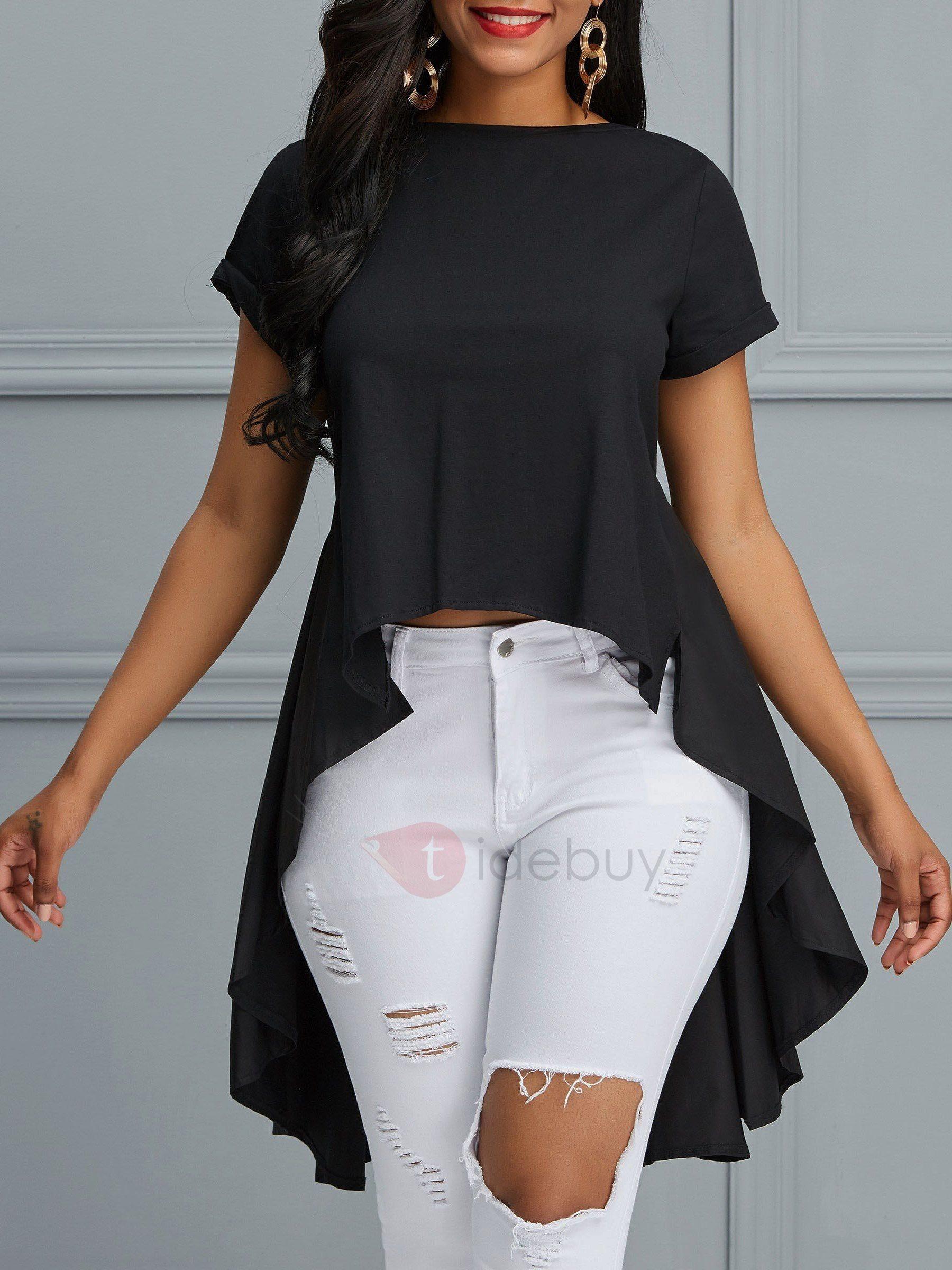 9db64d9c #AdoreWe #TideBuy - #TideBuy Asymmetric Peplum Plain Mid-Length Womens T- Shirt - AdoreWe.com