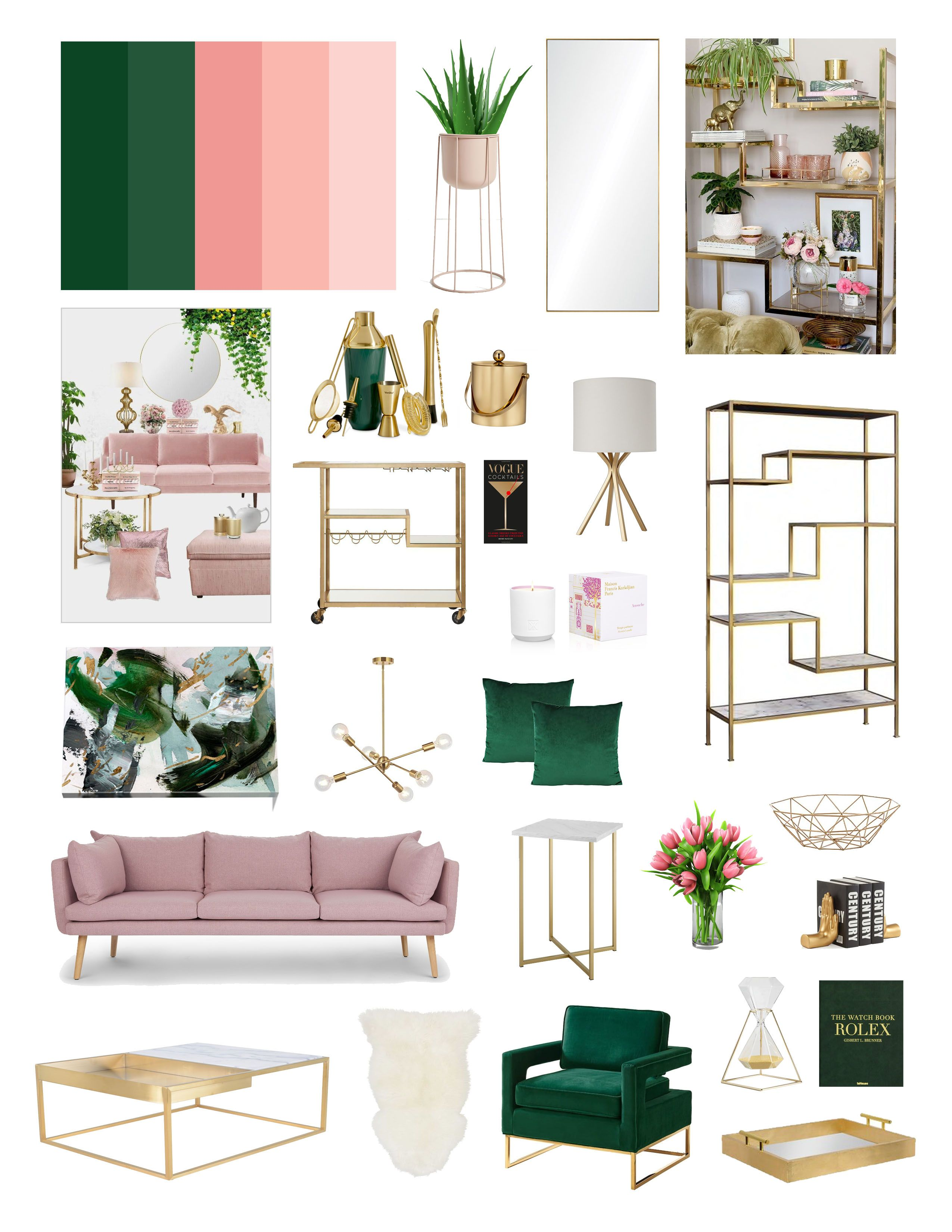 Pink Green Living Room Mood Board In 2020 Living Room Green Emerald Green Living Room Green Rooms