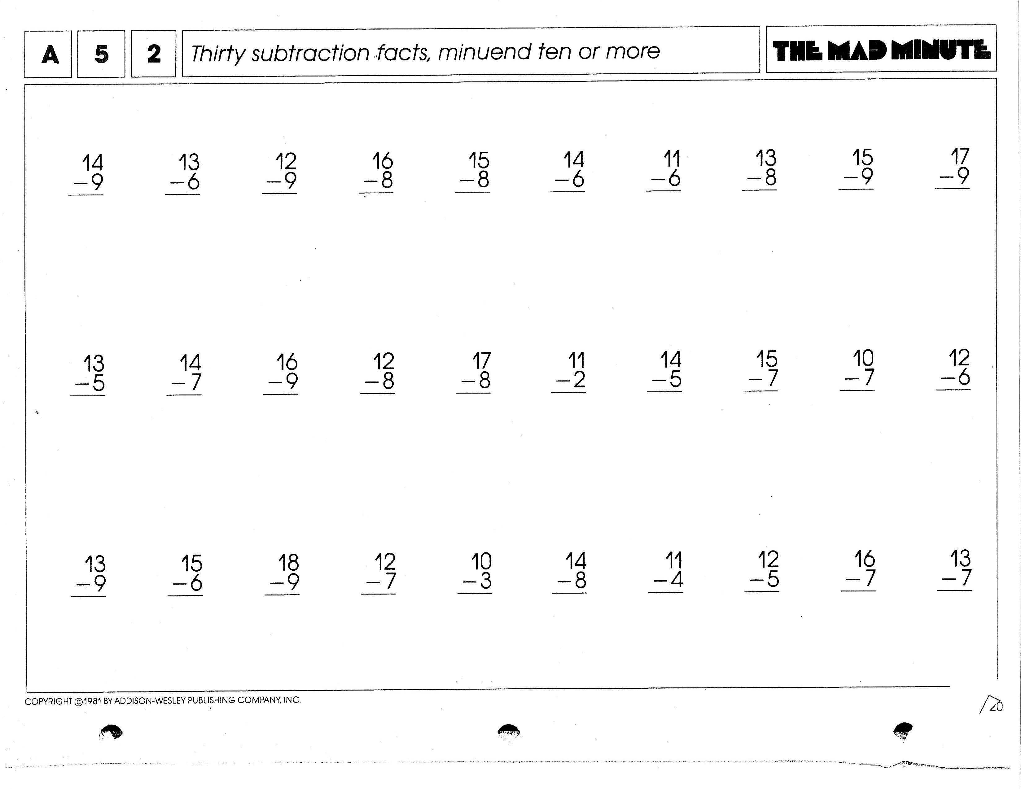 Math Worksheets Subtraction Subtraction Facts [ 2548 x 3296 Pixel ]