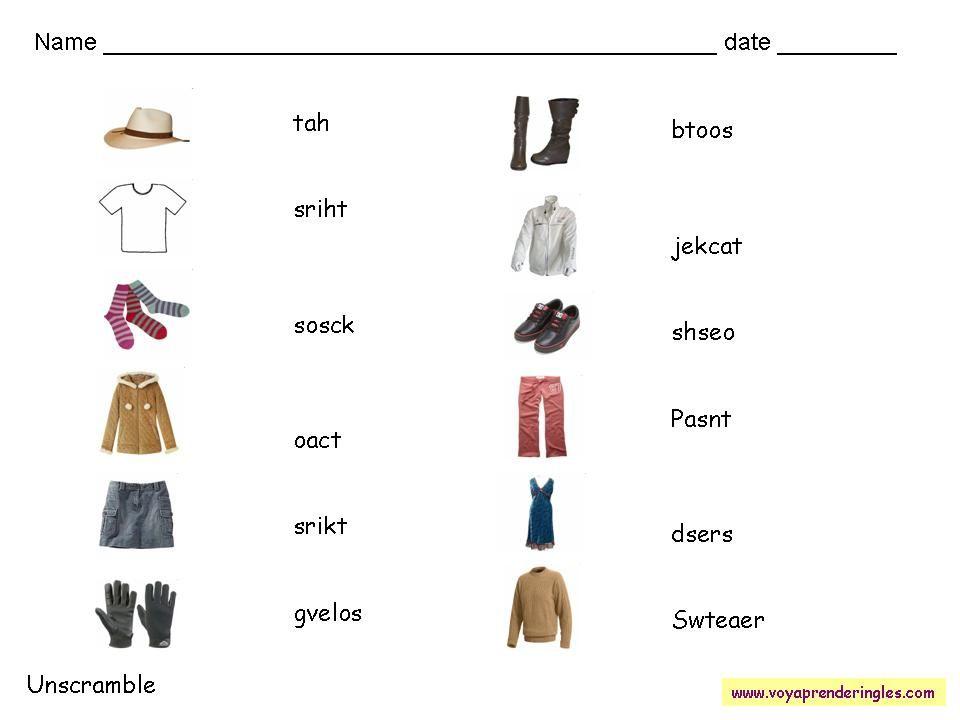 Worksheets Clothes 10 Fichas Alfabeto En Ingles Fichas