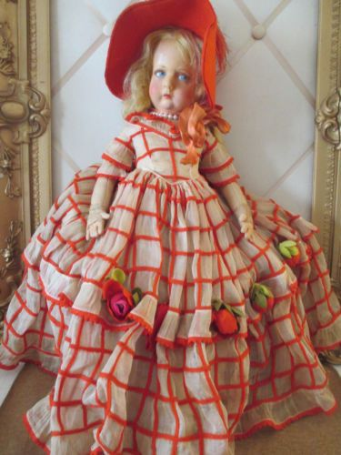 Antique Cloth Lenci Doll 19 in Tagged Red Cream Dress Hoop Skirt Feathered Hat   eBay