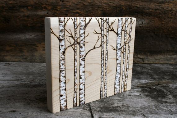 White Birch Trees  Woodland Art Block  by TwigsandBlossoms on Etsy