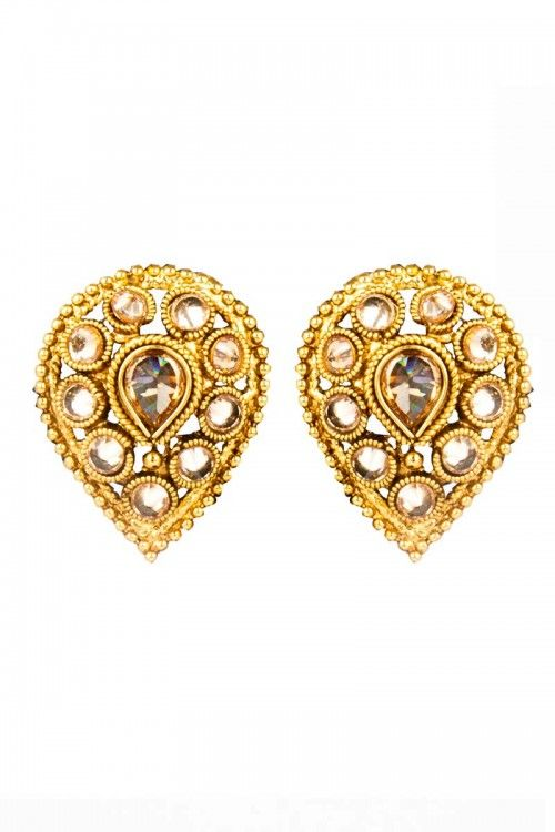 Golden Pearl Earrings Online At Lowest Price Andaaz Fashion Http Andaazfashion Co Uk Jewellery Crystal Studded Jhumka 80751