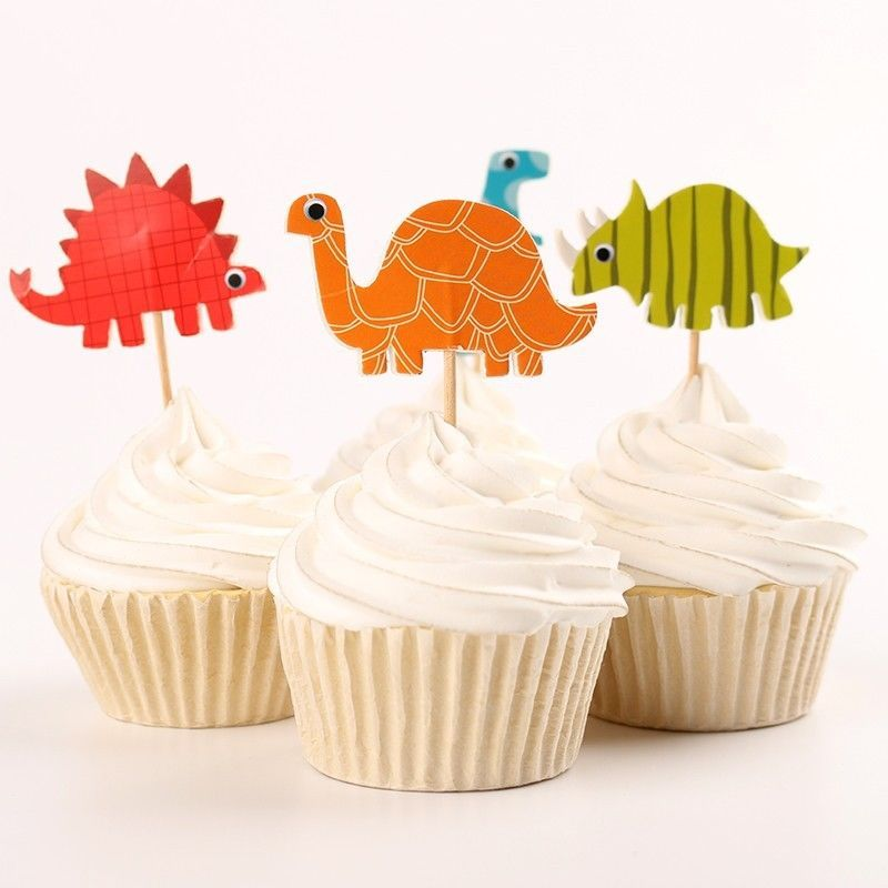 24 Pieces Animal Cupcake Food Picks Cake Toppers Baby Shower Party Decor