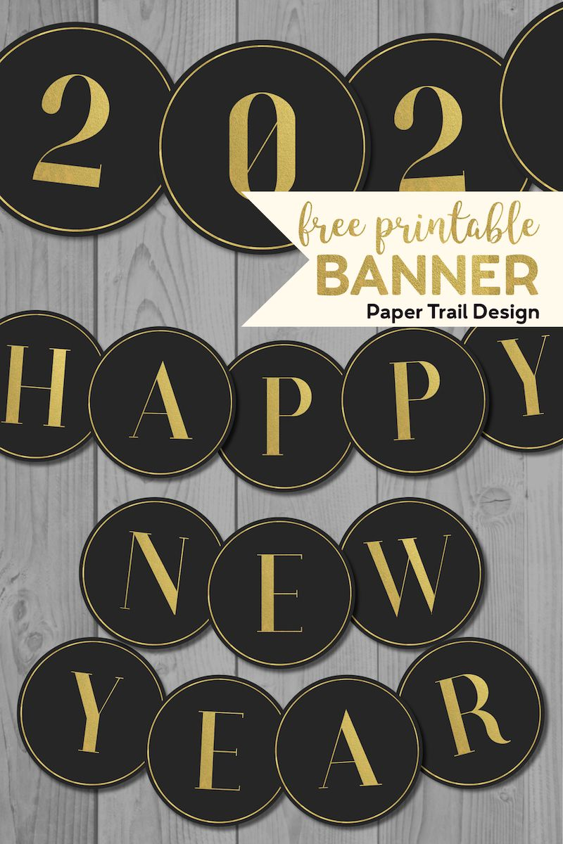 Free Printable Black & Gold Party Banner | Happy new year ...