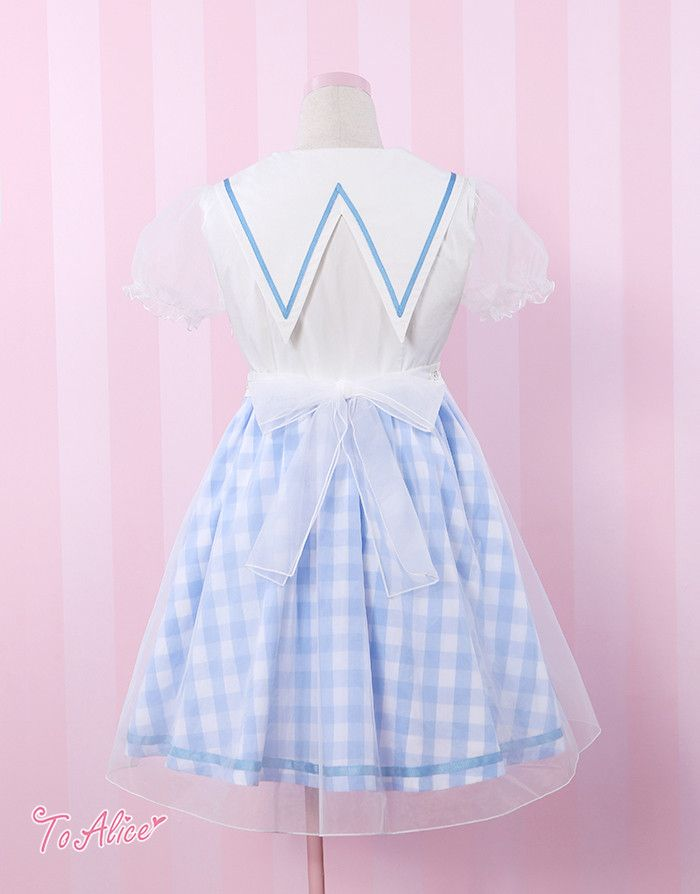To Alice | Organza Gingham Sailor Dress