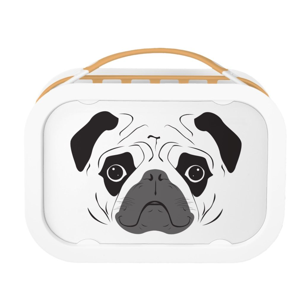 Pug Face Silhouette Lunch Box Zazzle Com Pugs Lunch Box Pug