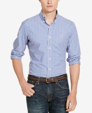 18be82de Polo Ralph Lauren Men's Slim-Fit Mini-Check Shirt - Blue/Pink Multi XXL