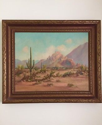 Early 1900s Painting Desert Mountains Southwest U S Signed 22x26 ...