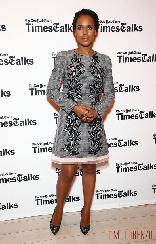 Kerry Washington wearing the Carolina Herrera Prince of Wales cut-out dress with black pumps for her Times Talks appearance in April 2016.