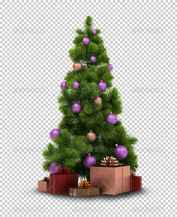 Christmas Tree And Gifts. 3d Image. Transparent High